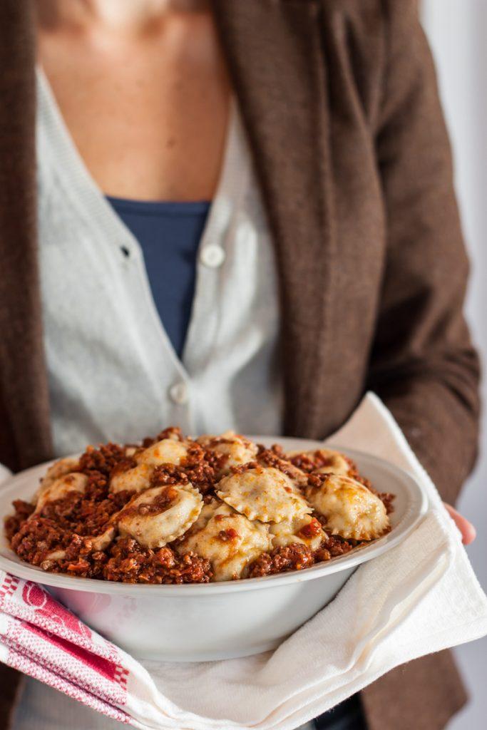 potato and pecorino tortelli with meat sauce