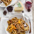Pici con zucca, salsiccia e pecorino