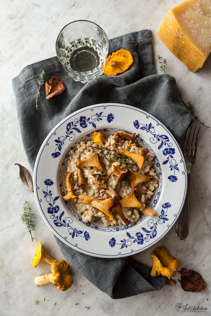 chanterelle barley risotto