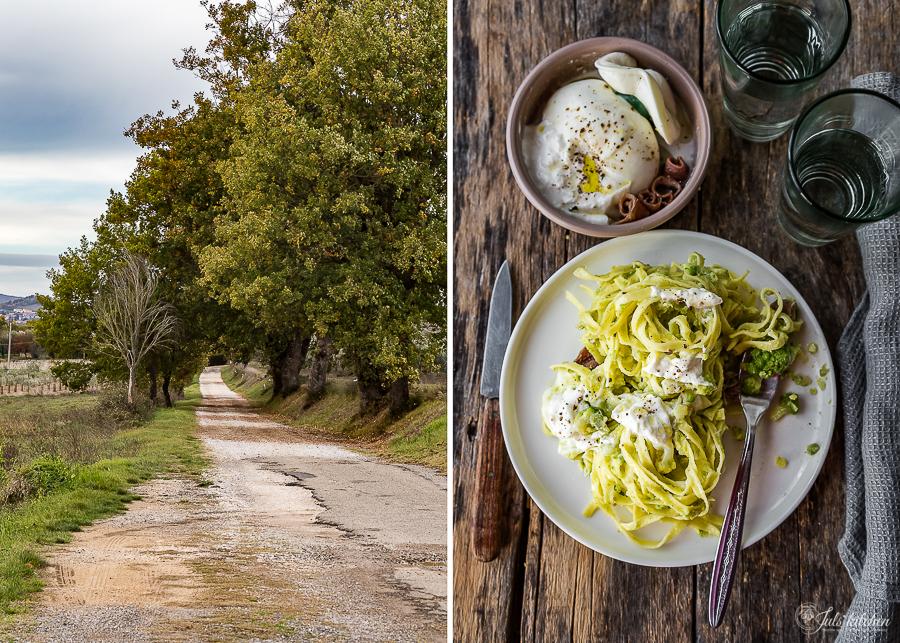 tagliatelle with romanesco broccoli, anchovies and burrata