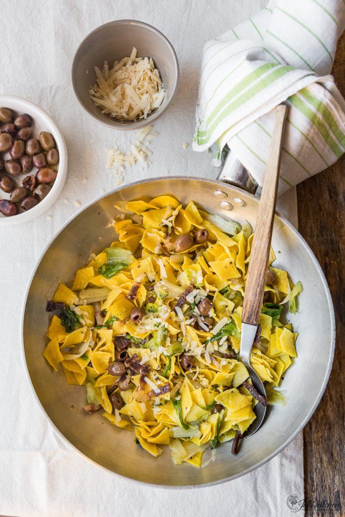 Maltagliati with olives, escarole and guanciale