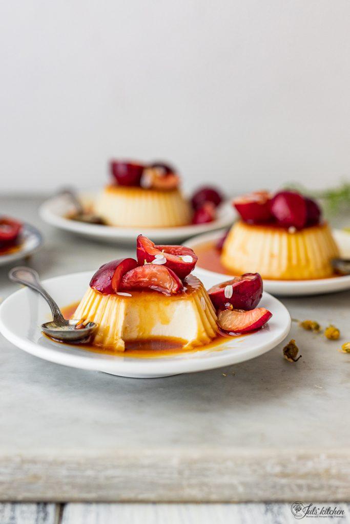 Chamomile panna cotta with cherries